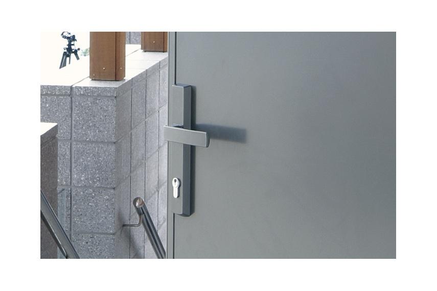 Malta® hinged-door handle in satin chrome finish
