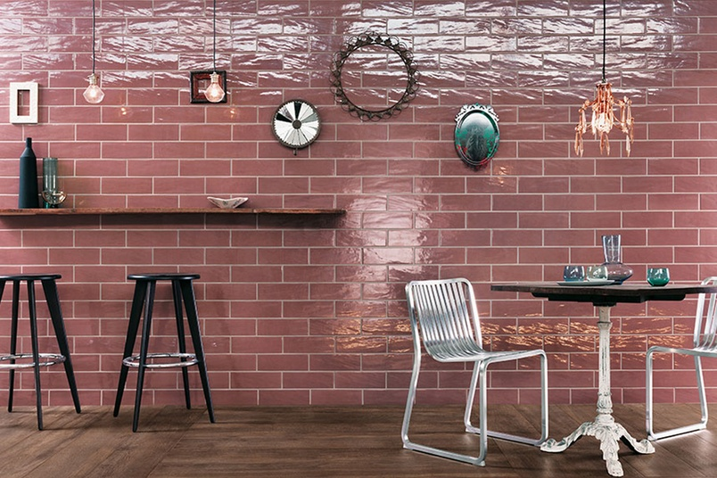 Manhattan vintage dining area feature wall tiles