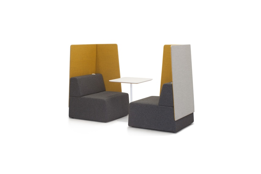 Pause seating system allows for the creation of spaces within spaces.