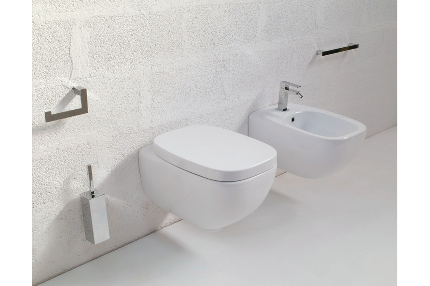 Dial white wall hung pan and wall hung bidet
