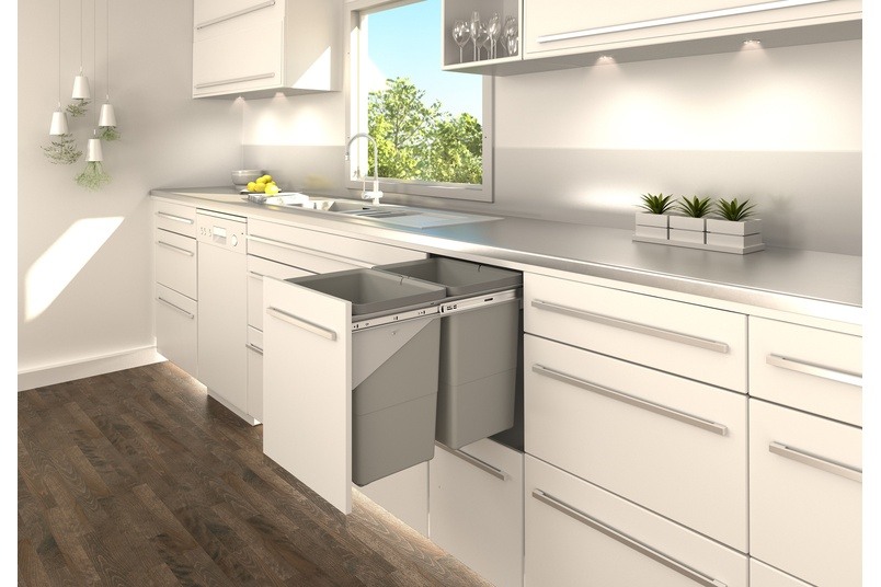 Tanova Simplex pull-out kitchen bin, fixed front or drawer type for 350mm cabinet.