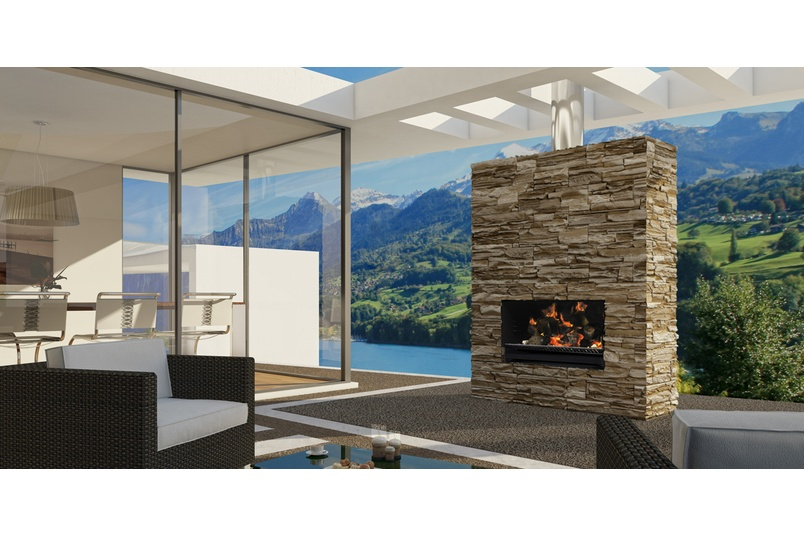 Escea EW5000 outdoor cooking fireplace (Frameless).