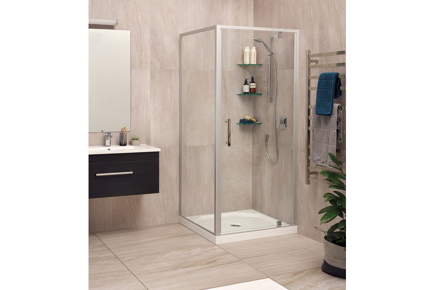 Millenium two-sided satin tile shower.