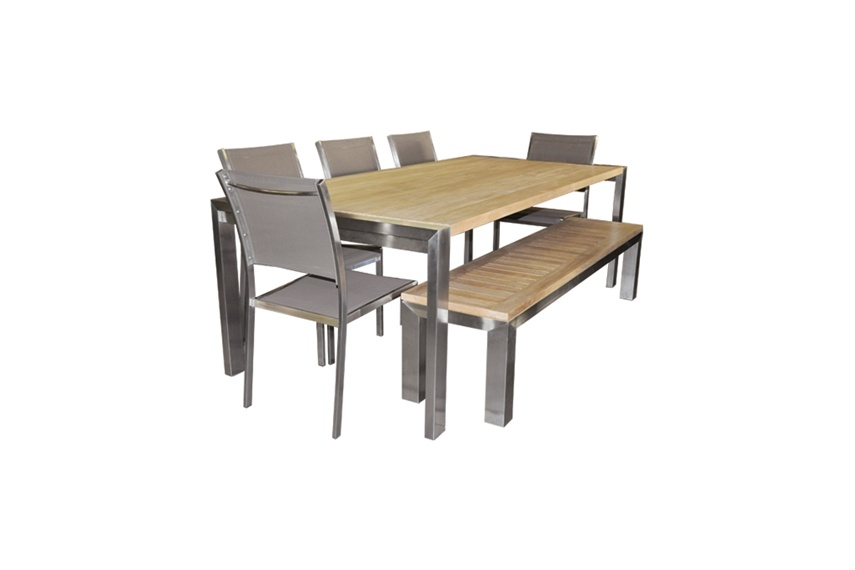 Long Plank table teak planks, Batyline® stacking chair and backless teak bench.