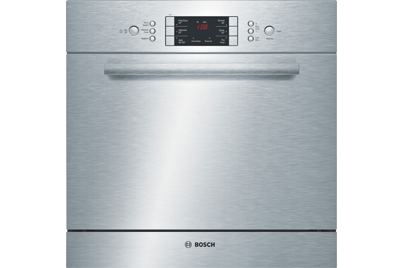 Stainless steel built-under 60cm dishwasher.