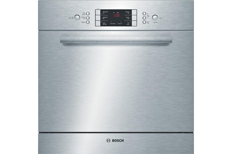 Stainless steel built-under 60cm dishwasher.