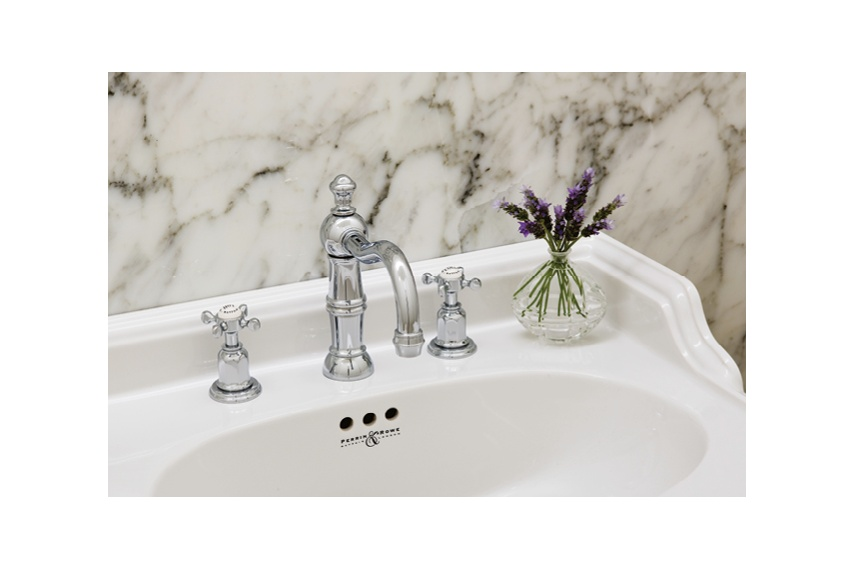 Perrin & Rowe country basin set with crosshead handles in chrome