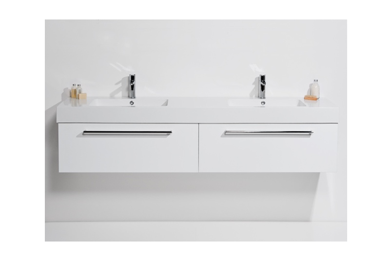 Drawer wall unit 1800 – 2 drawer, side by side, double bowl, polymarble top, soft close drawers