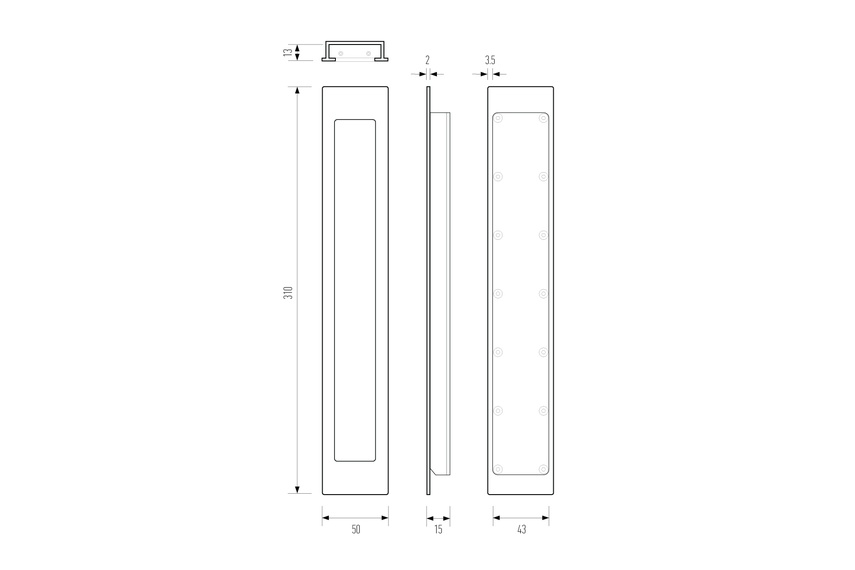 Line drawing –HB 1470 large flush pull