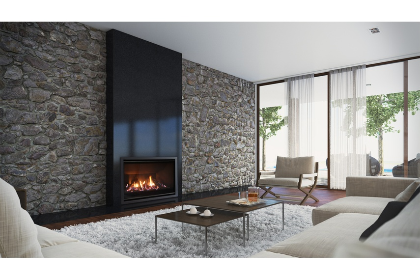 Escea AF960 gas fireplace (Volcanic Black Slim fascia and logs fuel bed).