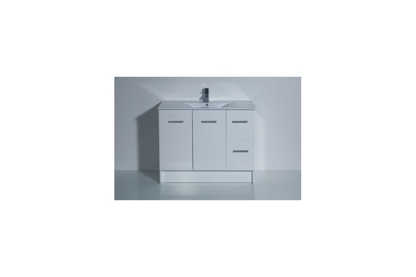 Floor unit 900mm – 2 door, 2 drawers, white, timber effect(melamine), china top, soft close hinges