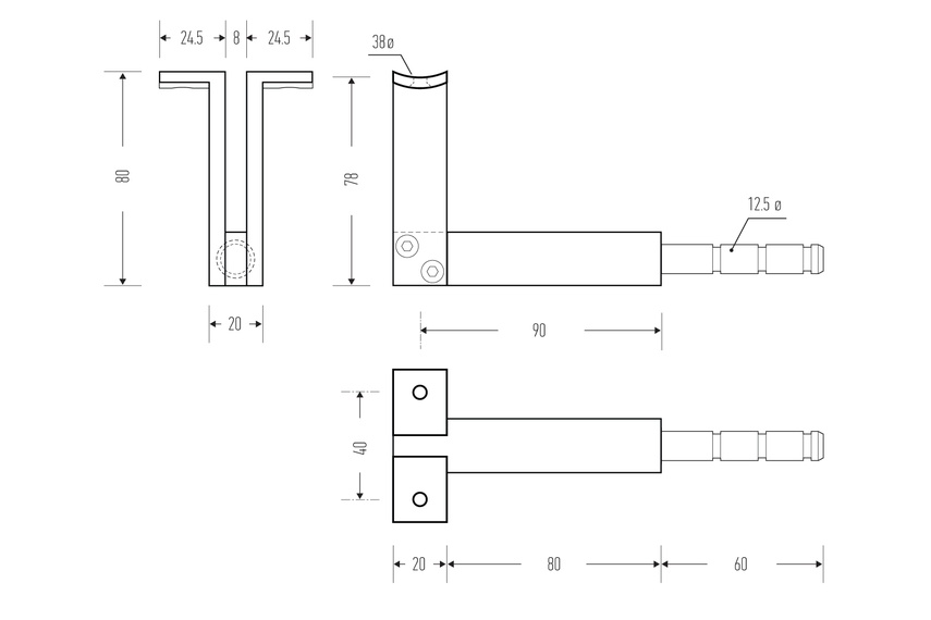 HB 550 stair rail bracket line drawing