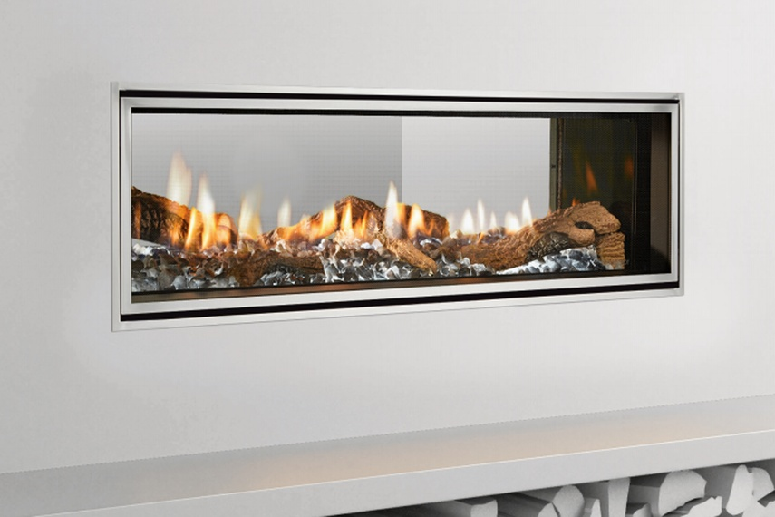 Gas Fireplace cleaning gas fireplace glass : Mezzo 1300 see-through gas fireplace by Green Gas – Selector
