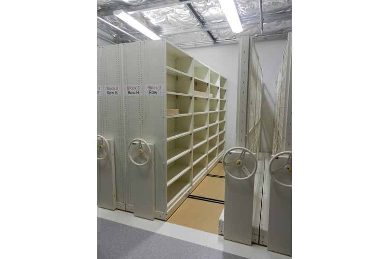 Resource room mobile shelving.