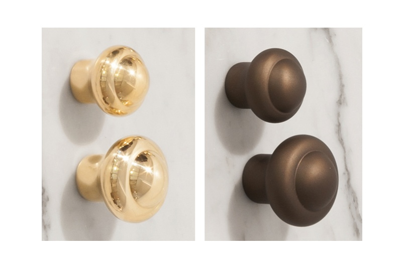 Perrin & Rowe cabinet knobs are available in two sizes – left: gold, right: eenglish bronze