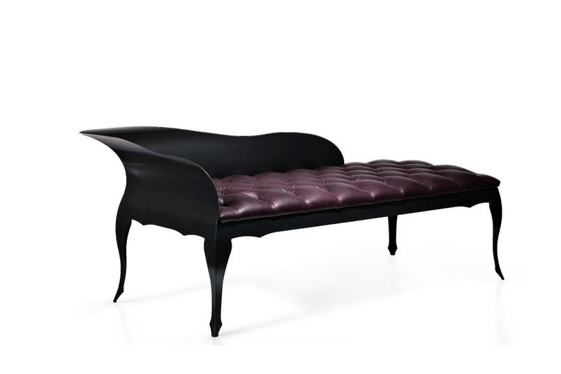 Evolute chaise –silk eggplant