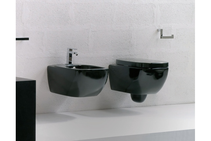 Dial black wall hung pan and wall hung bidet