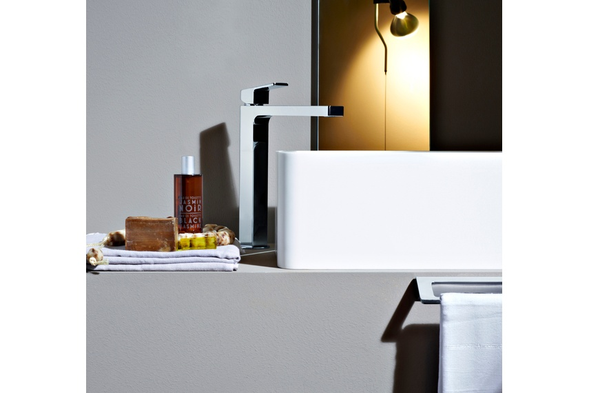 Jingle extended-height basin mixer.