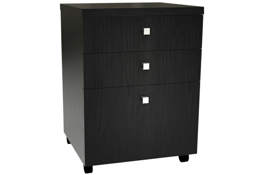 Ebony mobile two drawers and file