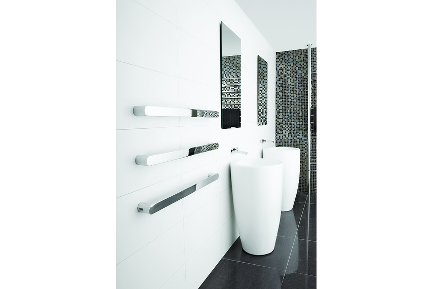Vega stainless steel heated towel rail