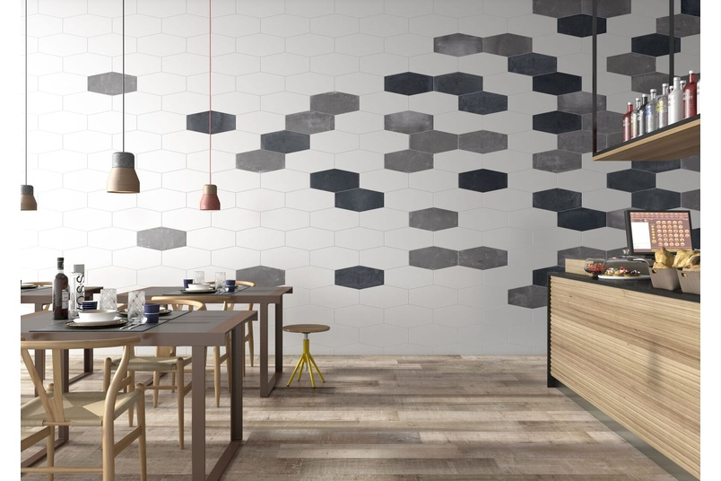 FACTORY Hexagon Matt White, Anthracite & Taupe tile – available in 24cm x 49cm format.