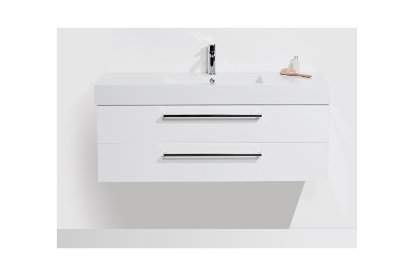 Drawer wall unit 1200 – 2 drawer, single bowl, polymarble top, soft close drawers