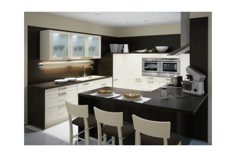 The Alba kitchen with framed doors creates a stylish kitchen and has seating for casual dinning
