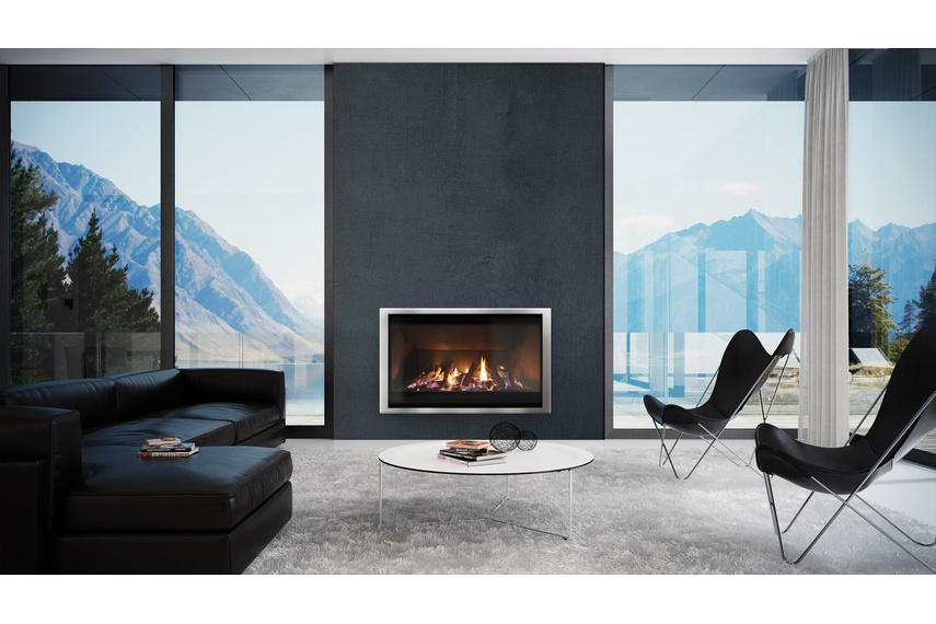 Escea AF960 gas fireplace (Stainless Steel Slim fascia and logs fuel bed).