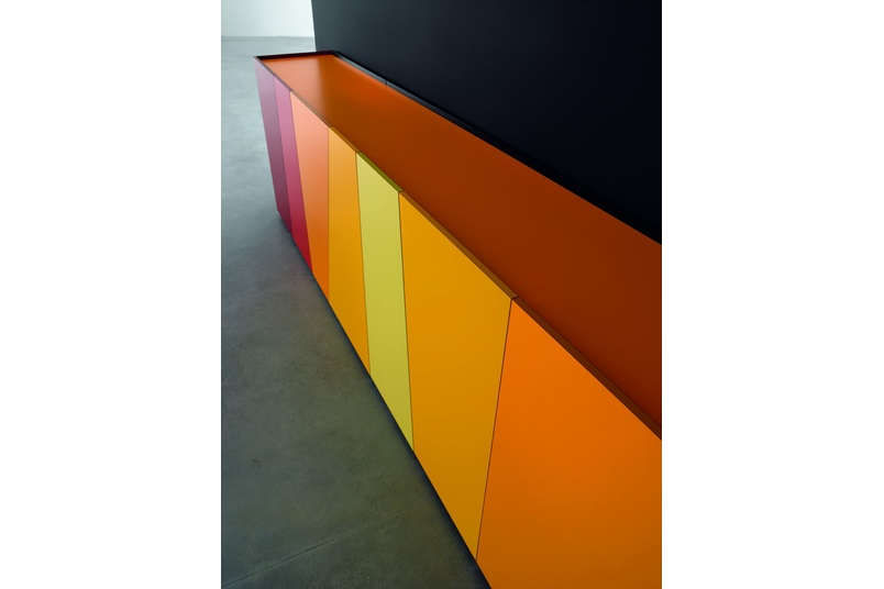 Cabinet featuring some of the 250 plain colours from Abet Laminati