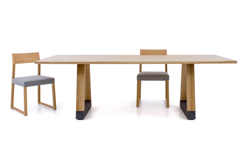 The table is available in a range of sizes and finishes