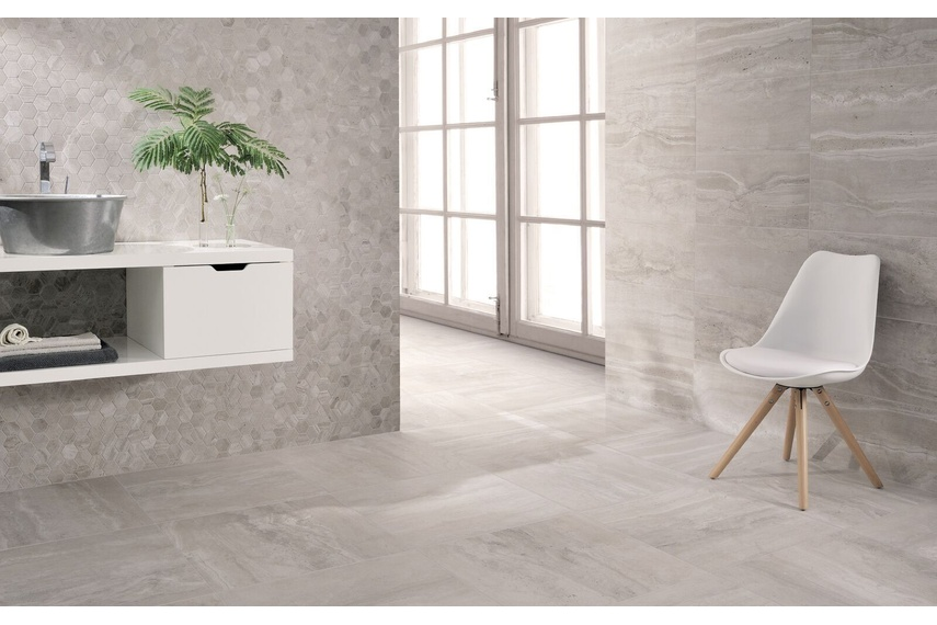 REVERSO Gris Patinato tile - available in 45.3cm x 90.6cm format.
