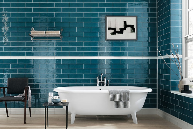 Manhattan jeans bathroom feature wall tiles