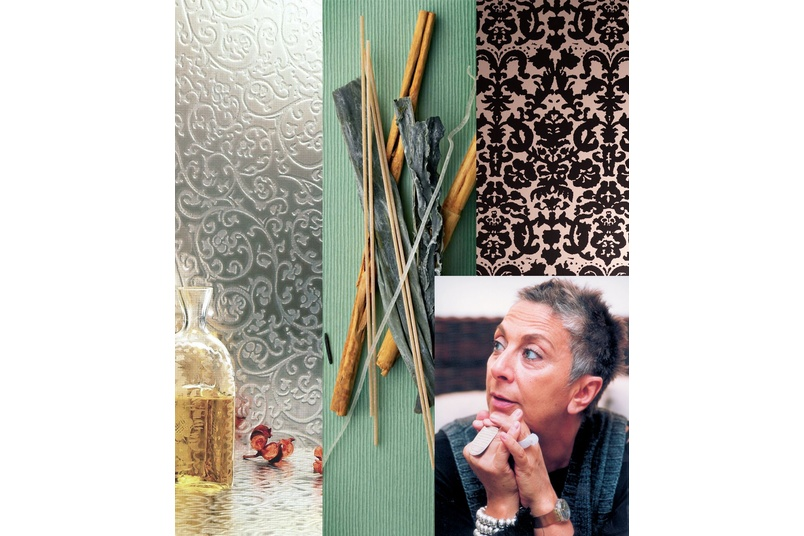 Paola Navone - Italian designer with some of her designs for Abet Laminati
