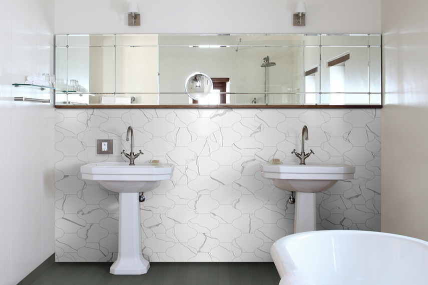 Marmo Bianco Fes Oliva floor tiles in 7.5 x 60 size.