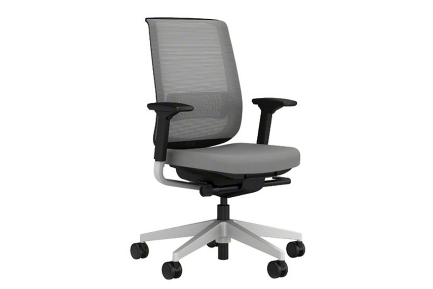 Reply chair with mesh back, adjustable arms and upholstered seat.