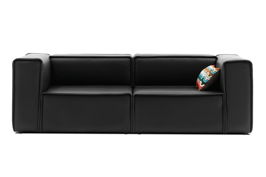 Carmo Modular Sofa System Shown In Black Rio Leather