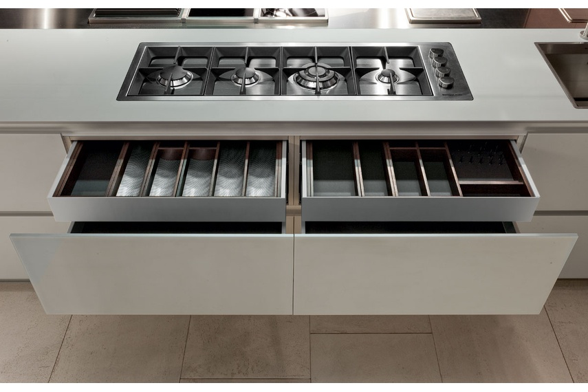 The Twelve kitchen comes complete with electric drawers to eliminate the need for handles.