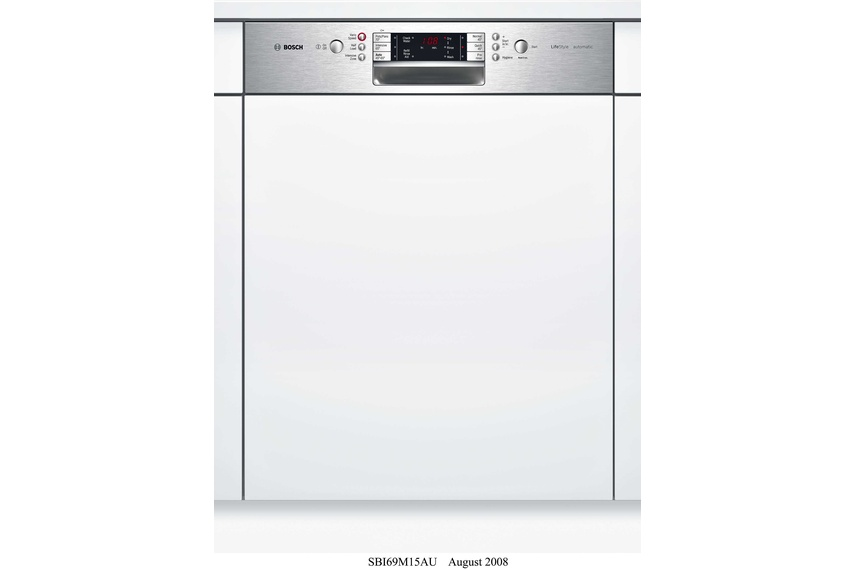 Stainless steel semi integrated dishwasher.