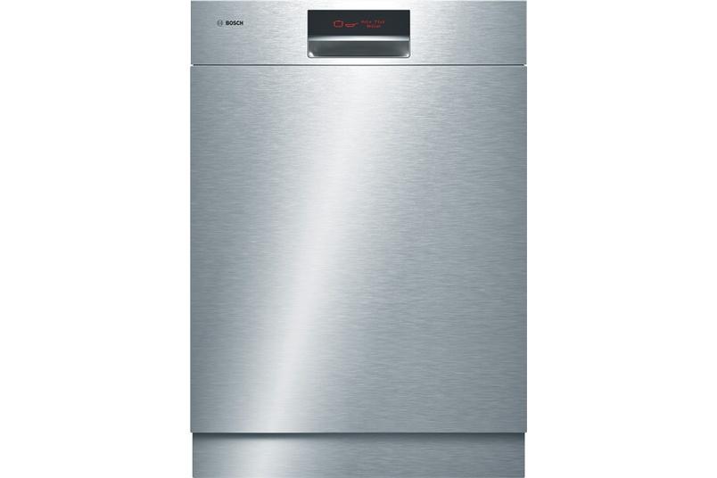 Stainless steel built-under dishwasher.