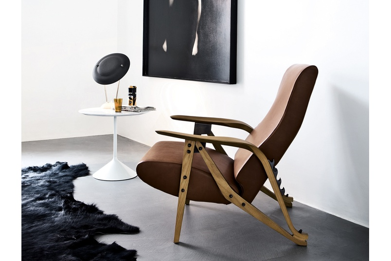 Gilda armchair is adjustable to four positions.