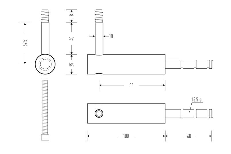 HB 530 stair rail bracket – line drawings
