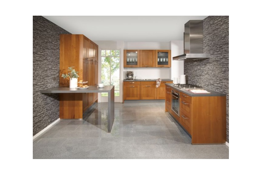 The Elegance kitchen's walnut veneer doors creates a warm and cosy feeling with a touch of luxury