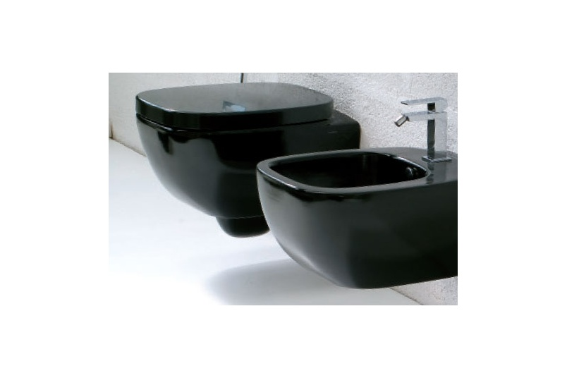 Dial black wall hung pan and bidet
