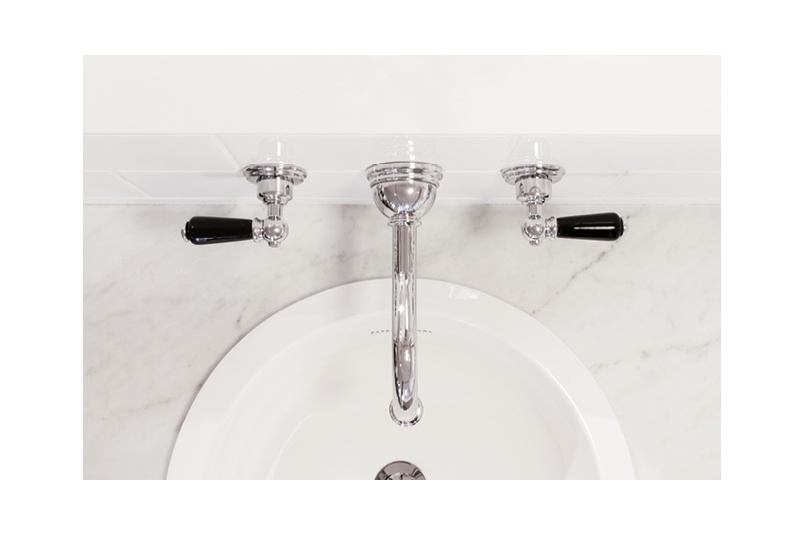 Perrin & Rowe Traditional wall mounted basin tap with black porcelain levers in chrome