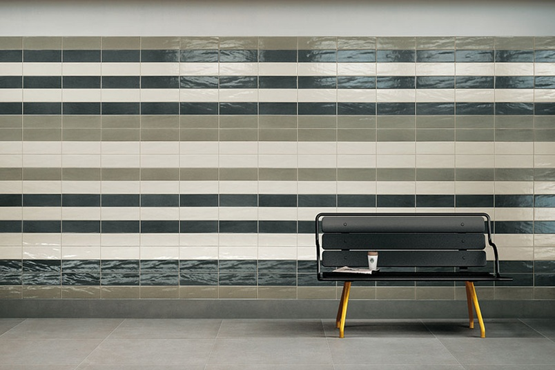 Manhattan grey pearl and smoke feature subway wall tiles