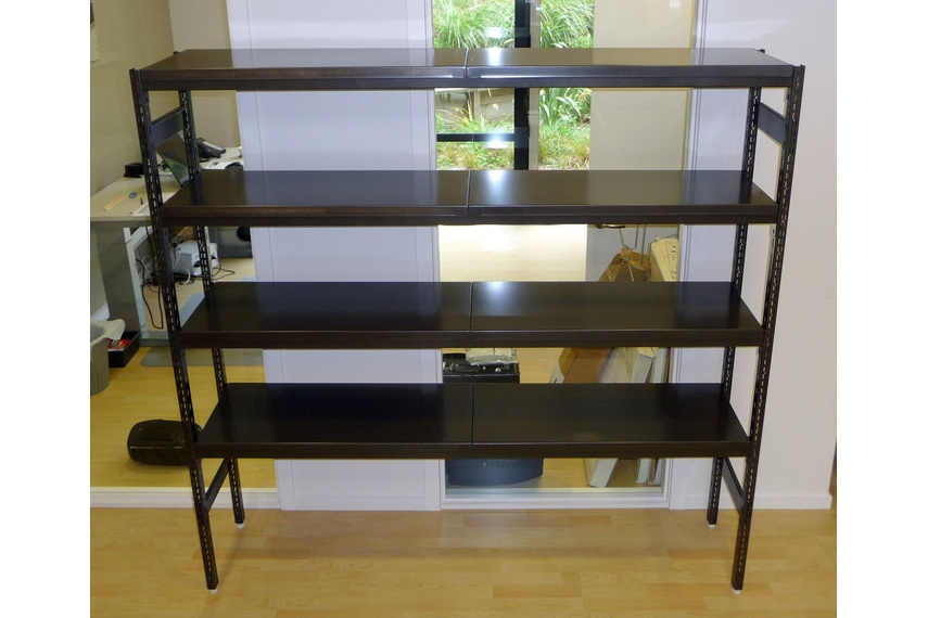 Front view of Hydestor book shelf in office.