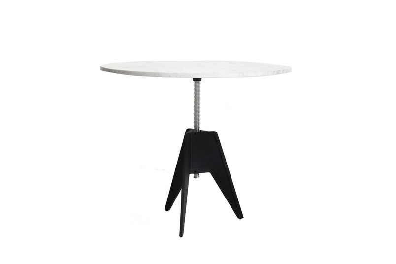 The Screw side table is made from a cast iron tripod base with a white marble top