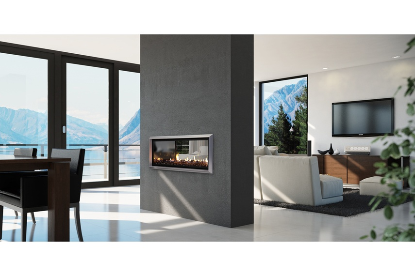 Escea double-sided DX1000 gas heater (Titanium Silver fascia and Black Crystalight fuel bed).