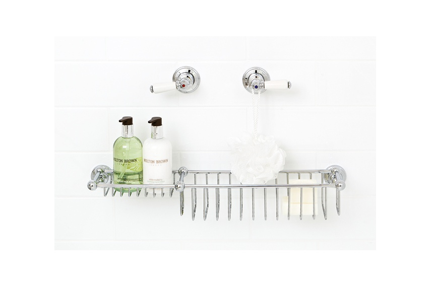 Perrin & Rowe 510mm bottle basket & soap tray holds deep bottles and a bar of soap