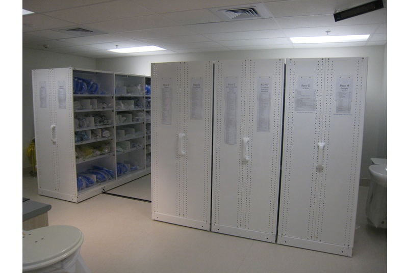 Hospital shelving by Hydestor.